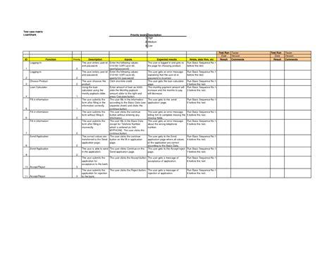 test cases template test matrix related keywords test matrix