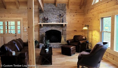 great room  stacked stone fireplace custom timber
