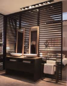 wall partition ideas open concept bathroom with wood slat partition for the home pinterest interior ideas