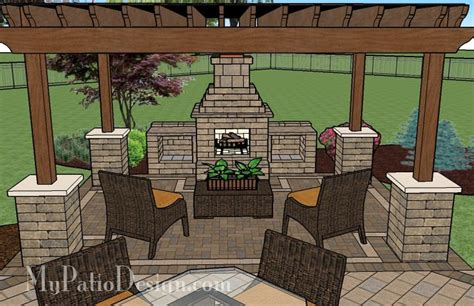 patio with pergola fireplace area patio designs and