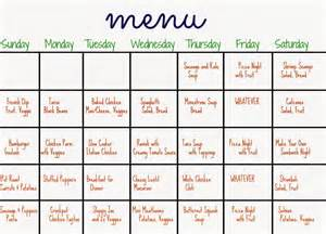 calendar 2017 monthly dinner menu calendar 2017 printable