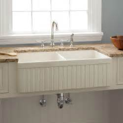farmhouse kitchen sinks 39 quot risinger double bowl fireclay farmhouse sink