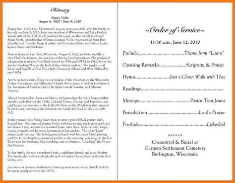 obituary program template sle obituary funeral programs pictures to pin on