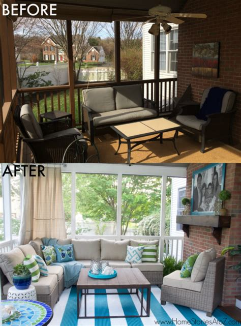 screened in porch decor lowe s screen porch and deck makeover reveal