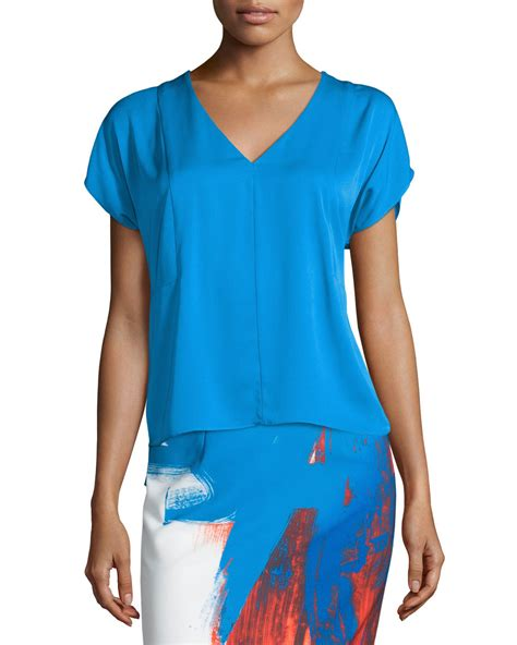 Dolman Sleeve Top 1 Milly V Neck Dolman Sleeve Top In Blue Lyst