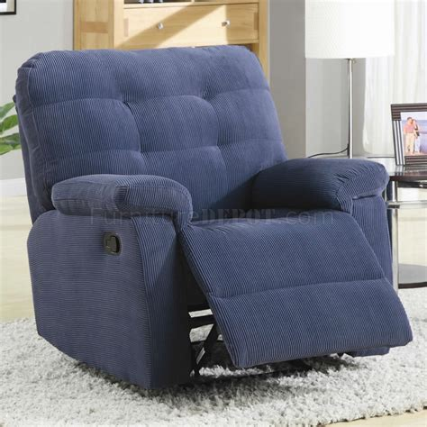 Blue Recliner Blue Corduroy Fabric Modern Rocker Recliner Chair W Pillow