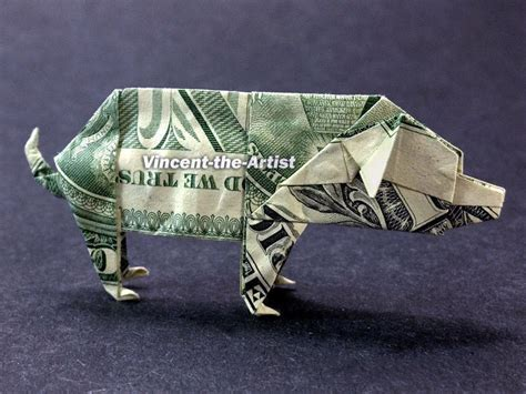 Origami Pig Dollar - money origami pig dollar bill made with real 1 00