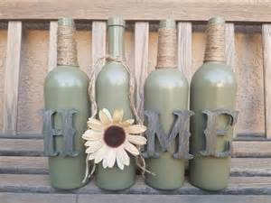 Home Decor With Wine Bottles by Home Wine Bottle Set Home Decor Rustic Decor Table Decor
