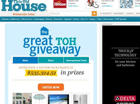 House Giveaway Sweepstakes - this old house great toh giveaway sweepstakes