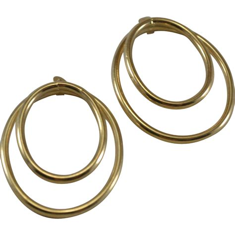 Hoop Earrings With 14k yellow gold hoop earring jackets sold on ruby