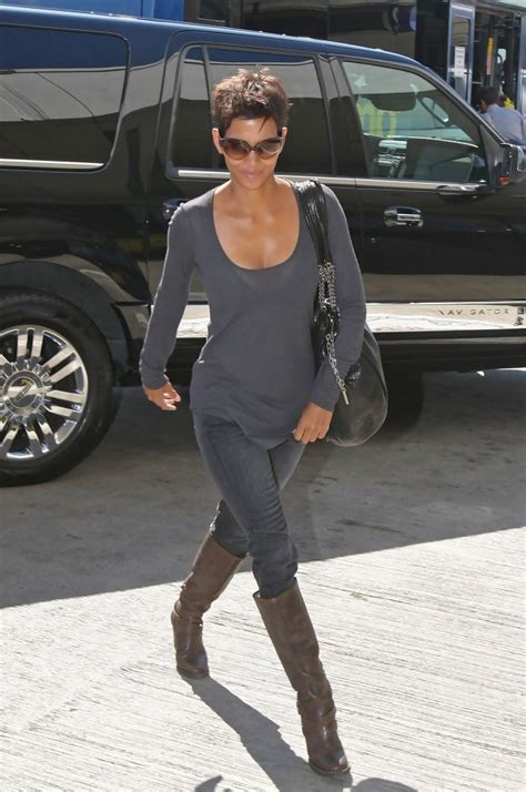 Halle Berry Gets On Knees For A by Halle Berry Knee High Boots Halle Berry Shoes Lookbook