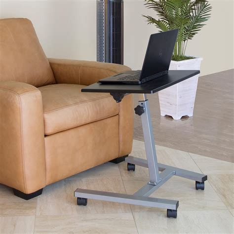 seville classics mobile laptop desk cart seville classics black mobile laptop sit and stand desk