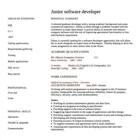 Resume Sample Junior Software Engineer sample software developer resume 10 free documents