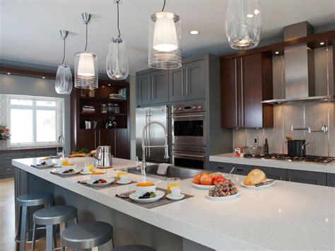3 Light Pendant Island Kitchen Lighting gray midcentury modern kitchen photos hgtv