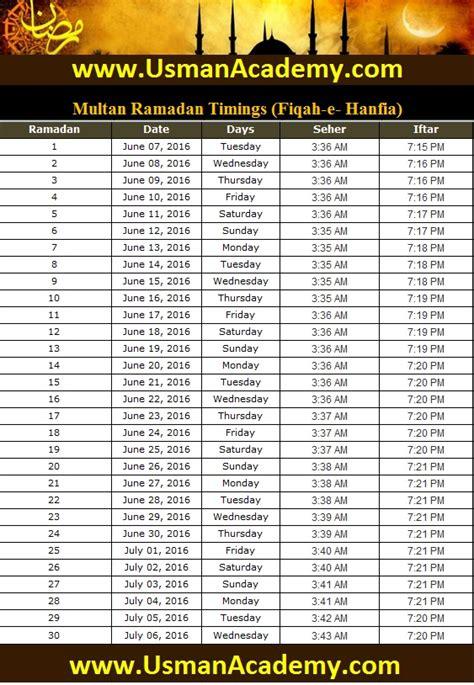multan ramadan timings  calendar multan ramazan sehar  iftar time table