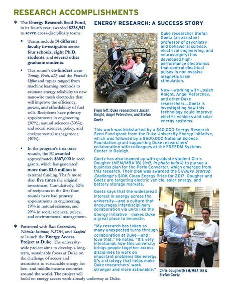 Duke Employment Report Mba by Duke Energy Initiative S Annual Impact Report