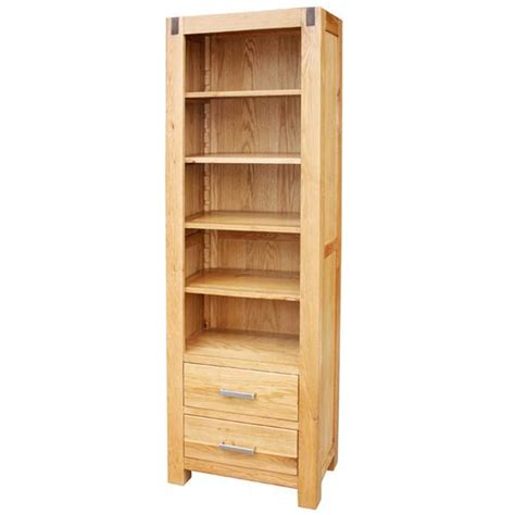 barcelona small oak wood bookcase with drawers