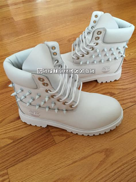 spiked white timberlands by spikedcons on etsy