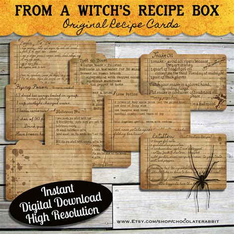 printable halloween recipes halloween witch recipe cards instant digital download vintage