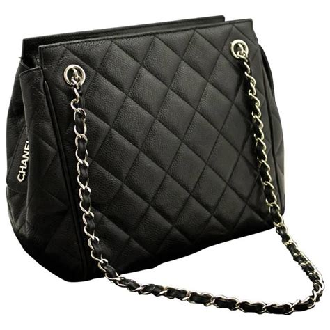 Chanel Quilted Bag Silver Chain by Chanel Caviar Chain Shoulder Bag Black Silver Quilted