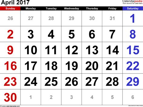 Kalender 2017 April Free April 2017 Calendar With Us Holidays Printable