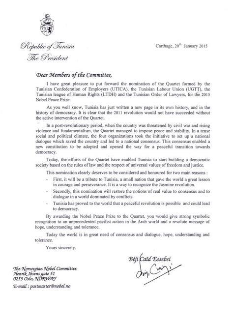 Demande De Nomination Lettre Prix Nobel C Est Beji Ca 239 D Essebsi Qui A Propos 233 Le Quartette Voir Sa Lettre De Nomination
