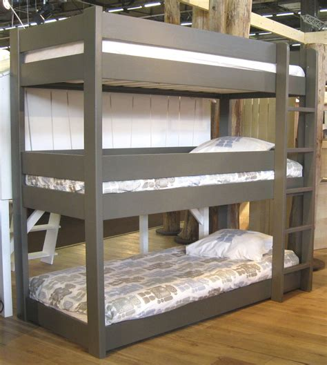Three Bed Bunk Beds Cool Grey Finished Custom Wooden Bunk Bed With Stepcase On Wooden Flooring For Decorate