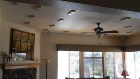 faux oak beams make a ceiling faux wood workshop