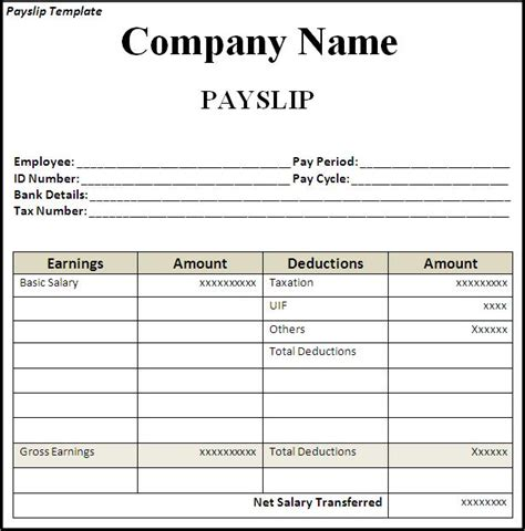 get employee pay slip template format projectmanagersinn
