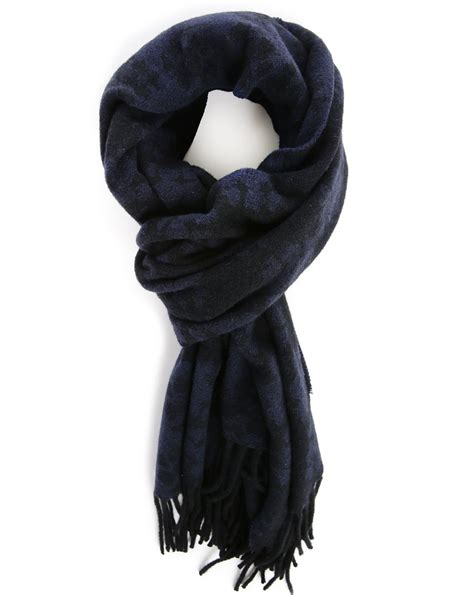 Scarf Black melindagloss navy and black patterned scarf in blue for