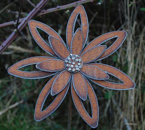 Rusted Flower Garden Art Garden Stake Decor Metal Garden Flowers