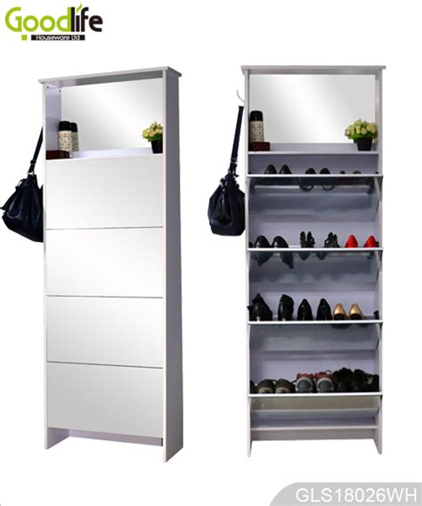 mirror shoe storage mirrored wooden shoe rack with storage cabinet and hooks