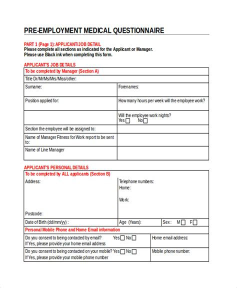 pre employment checklist template sle questionnaire form 9 free documents in