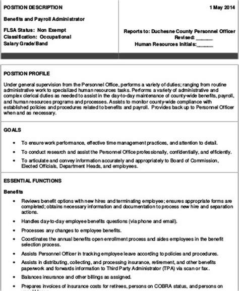 Benefits Manager Description by Description For Benefits Administrator Performance Evaluation Sle Spectrum Of