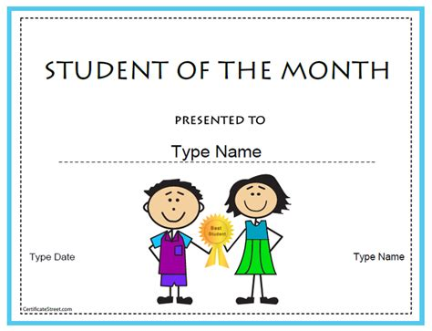 student of the month template certificate free award certificate templates no