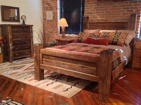 lodge style bedroom furniture old timber bed