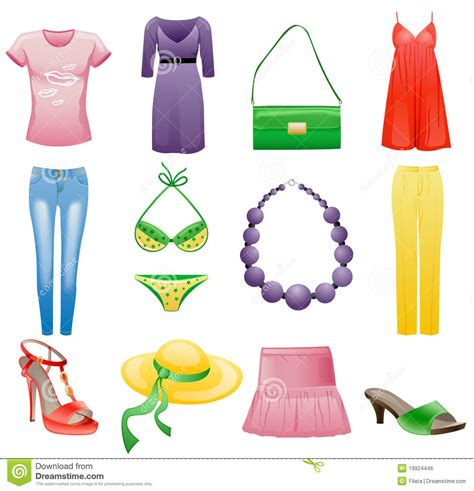 13 Fashion Accessories For Summer by S Clothes And Accessories Summer Icon Set Stock
