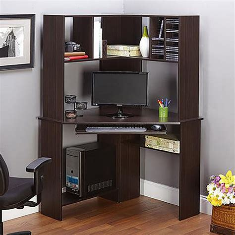 Corner Work Desk With Hutch Office Home Computer Espresso Desk With Hutch