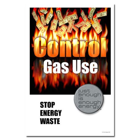design poster highlighting energy conservation ai ep107 control gas use stop energy waste energy