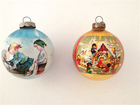 vintage christmas ornaments old fashioned holiday scenes