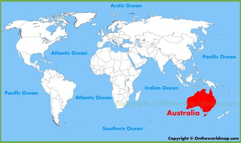 australia in world map australia location on the world map