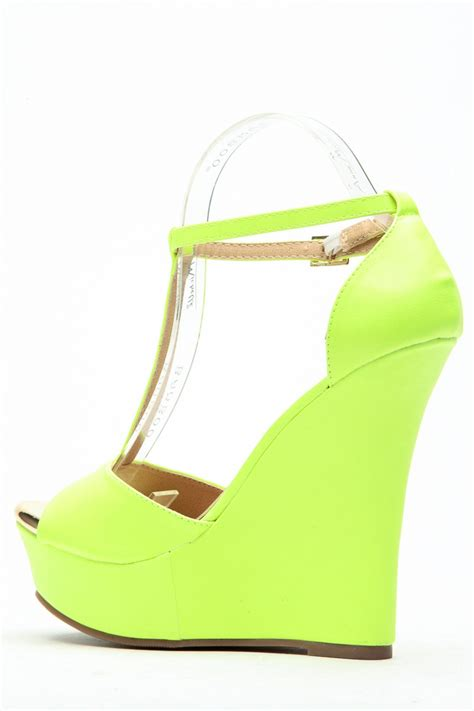 neon lime ellie t wedges cicihot wedges shoes