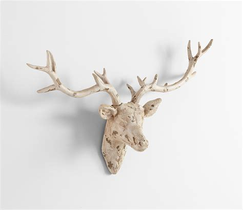White Deer Wall Decor by Deer White Plaster Wall Decor By Cyan Design