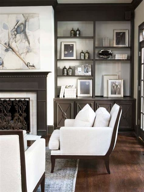 Living Room Fireplace Built Ins Gray Built In Cabinets Design Decor Photos Pictures