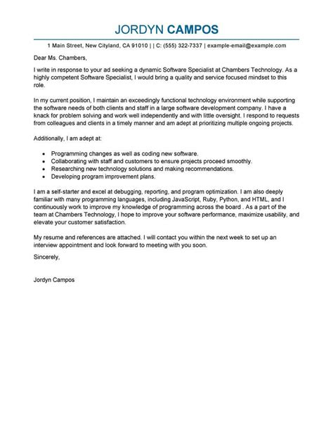 cover letter for design specialist best software specialist cover letter exles livecareer