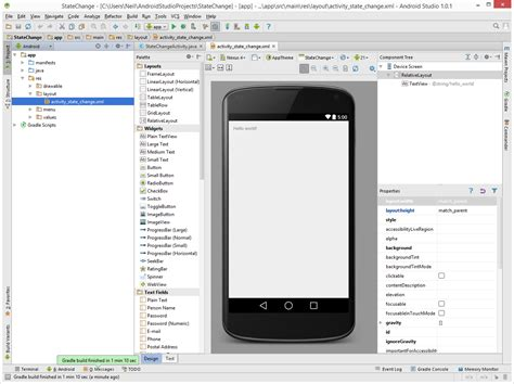 android studio edit layout xml android activity state changes an android studio exle