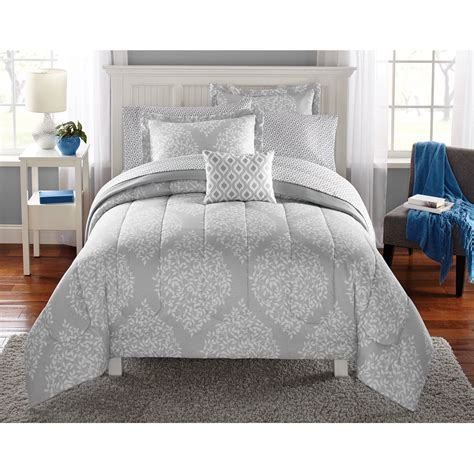 twin gray comforter leaf medal bed in a bag bedding set twin twin xl mainstays