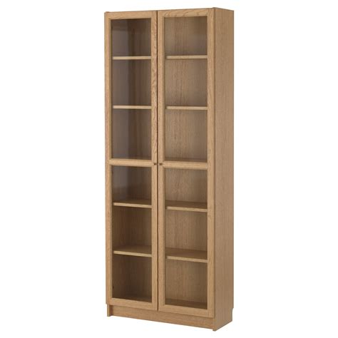 billy oxberg bookcase oak 80x202x30 cm ikea