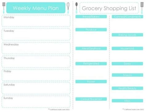 monthly grocery list template weekly meal planner template with grocery list asptur
