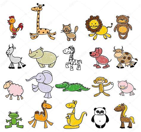 imagenes infantiles animales dibujos infantiles de animales doodle vector de stock